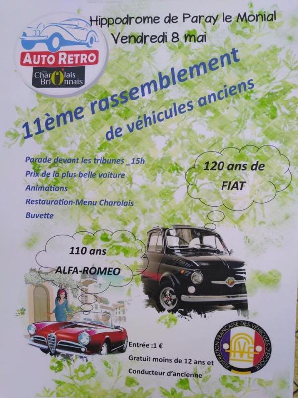 11eme rassemblement de véhicules ancien a Paray le Monial Vendredi 8 Mai